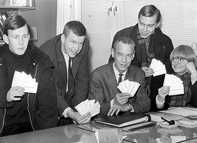 Privat bild.  Jörgen Ström, Björn Hjortling, Bror Bäckman, Sven Simonsson och Carina Hansson