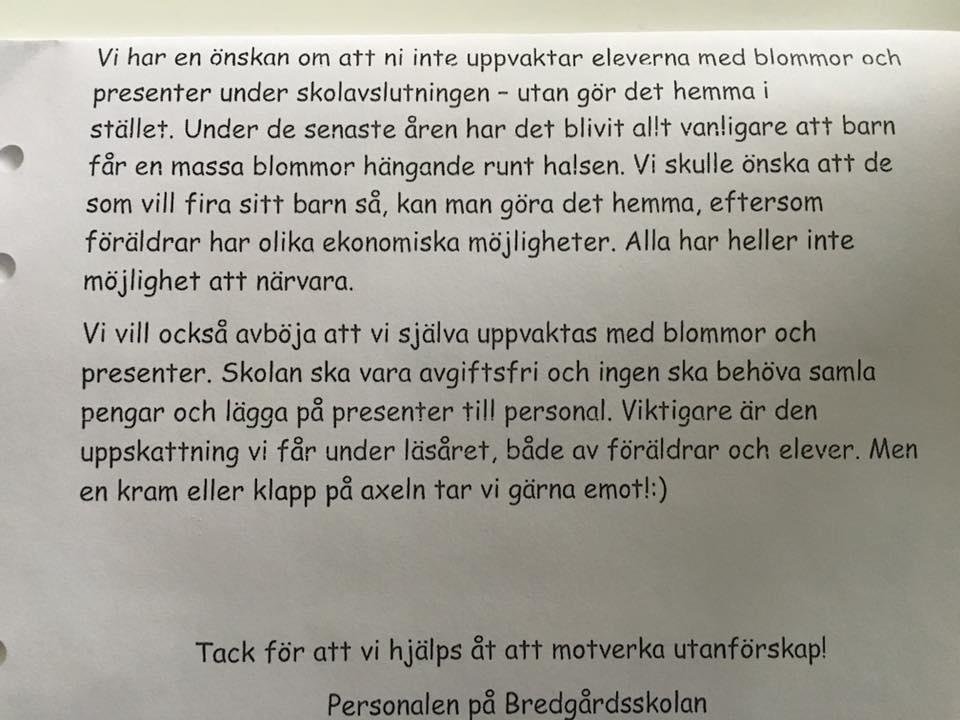 Bredgårdsskolan i Strömsund uppmanar föräldrarna att fira i hemmet för att motverka utanförskap.