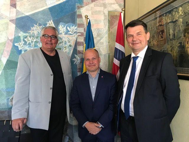 Göran Bergström, Justitieminister Morgan Johansson och Norges Justitieminister Tor Mikkel Wara. Bild privat.