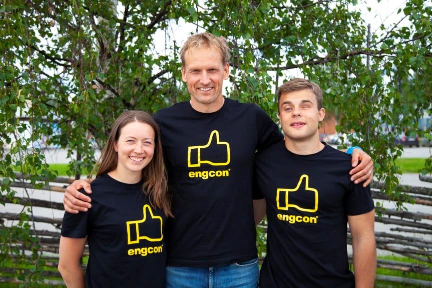 Team Engcon: Laila Kveli, Jerry Ahrlin och Sebastian Modin (samt Magnus Näslund, ej på bilden.